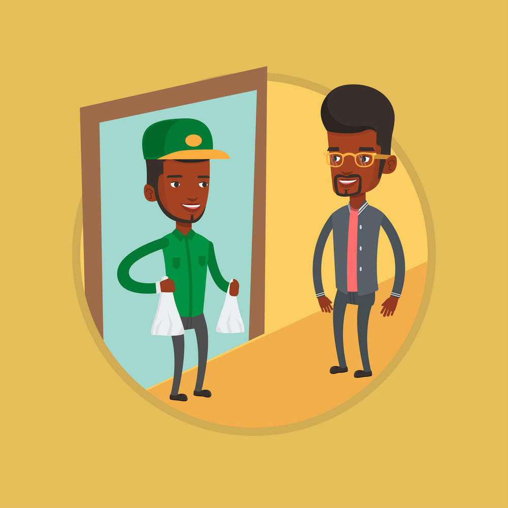 Delivery man delivering online shopping order to customer at home. African man receiving packages with groceries from delivery man. Vector flat design illustration in the circle isolated on background