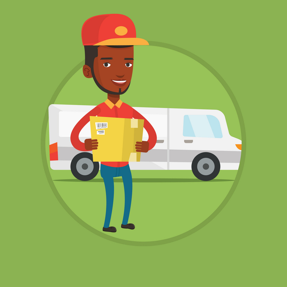 Delivery man with box on background of delivery truck. Delivery man carrying cardboard box. Delivery man with a box in his hands. Vector flat design illustration in the circle isolated on background.