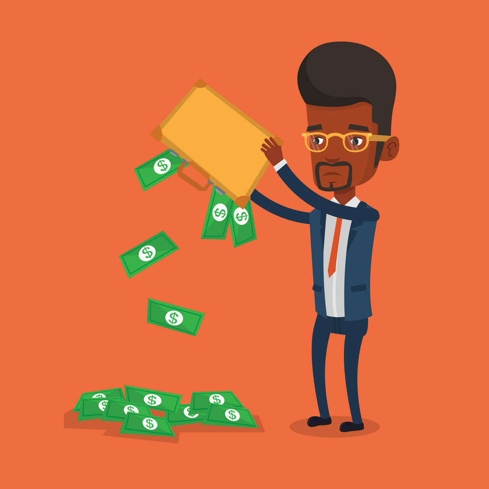 Depressed african-american bankrupt shaking out money from his briefcase. Despaired bankrupt businessman emptying a briefcase. Bankruptcy concept. Vector flat design illustration. Square layout.