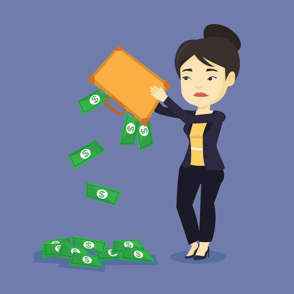 Depressed asian bankrupt shaking out money from her briefcase. Despaired young bankrupt business woman emptying her briefcase. Bankruptcy concept. Vector flat design illustration. Square layout.