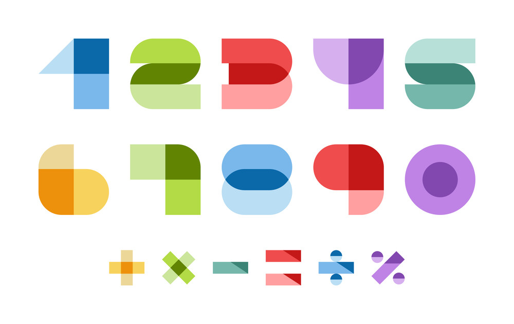 Design elements. Vector illustration of colorful abstract numbers.