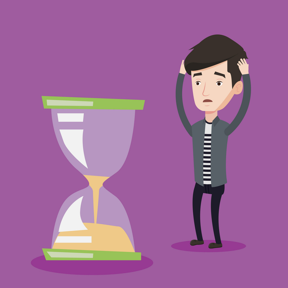 Desperate caucasian businessman looking at hourglass. Young stressed businessman worrying about deadline terms. Concept of time management and deadline. Vector flat design illustration. Square layout.