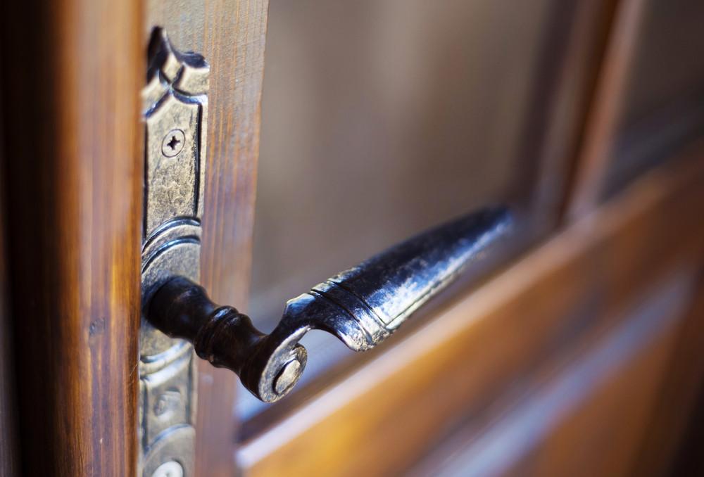 Detail of an old engraved door handle