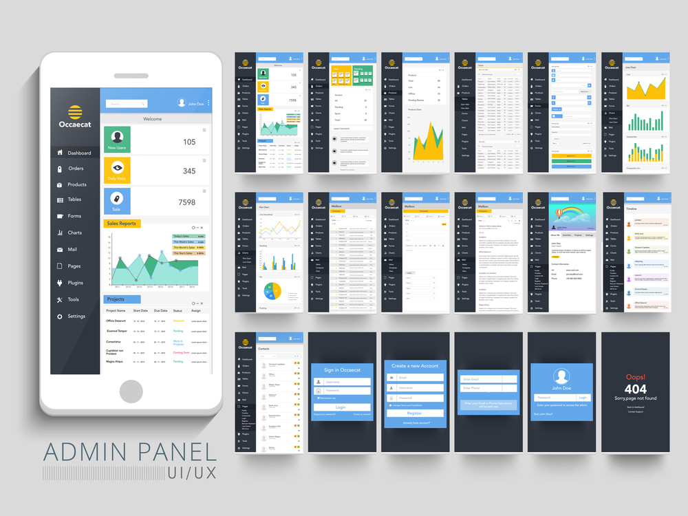 Different Admin Panel User Interface layout with Smartphone presentation.