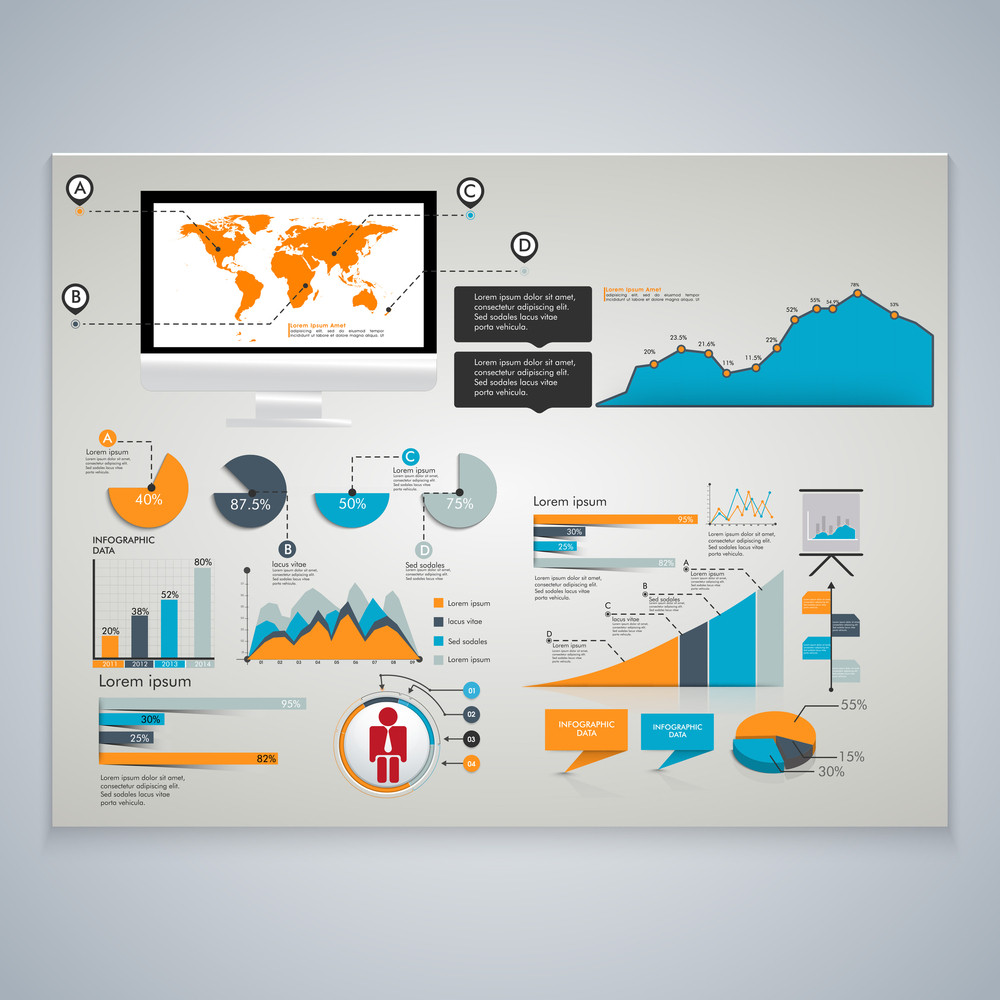 different infographic elements set with world map on desktop screen