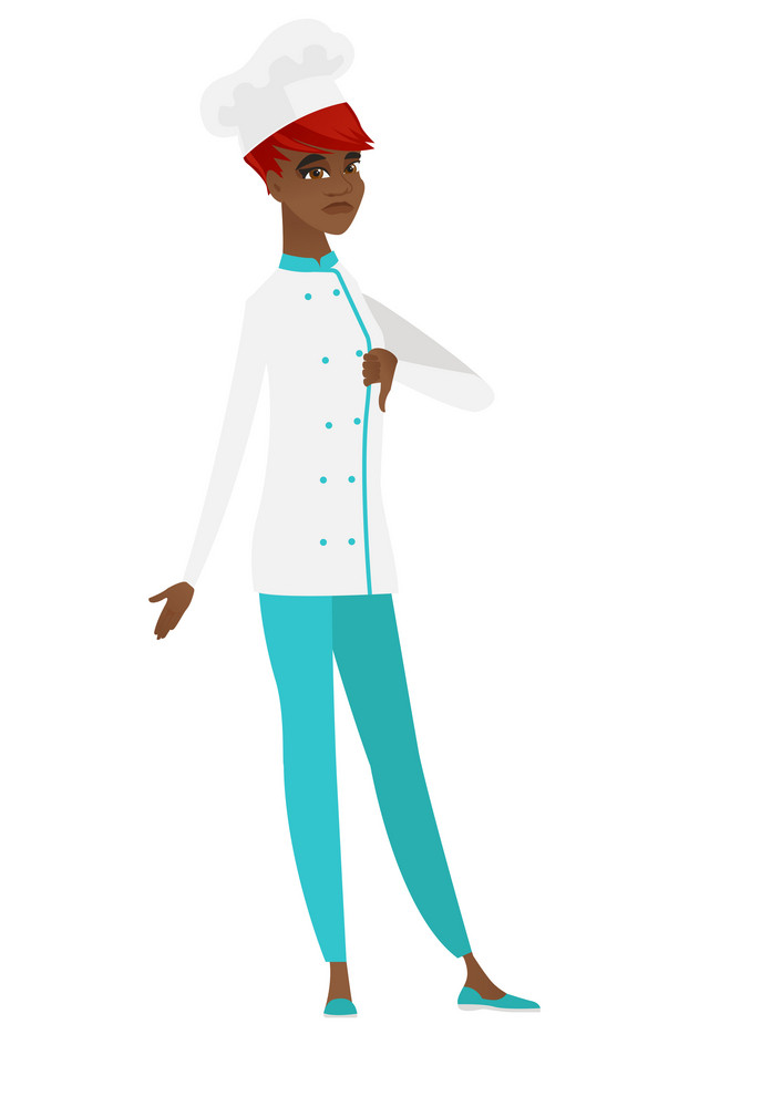 Disappointed african-american chef cook with thumb down. Full length of chef cook showing thumb down. Young chef cook with her thumb down. Vector flat design illustration isolated on white background.