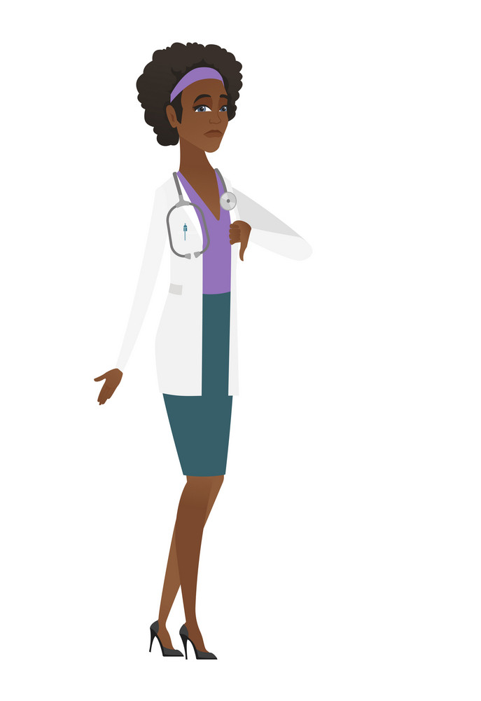 Disappointed african-american doctor with thumb down. Full length of doctor in medical gown showing thumb down. Doctor with thumb down. Vector flat design illustration isolated on white background.