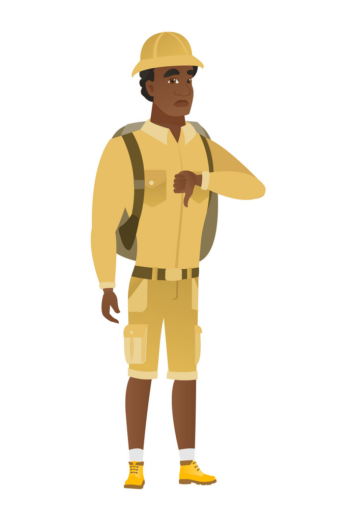 Disappointed african-american traveler with thumb down. Full length of traveler showing thumb down. Young traveler with his thumb down. Vector flat design illustration isolated on white background.