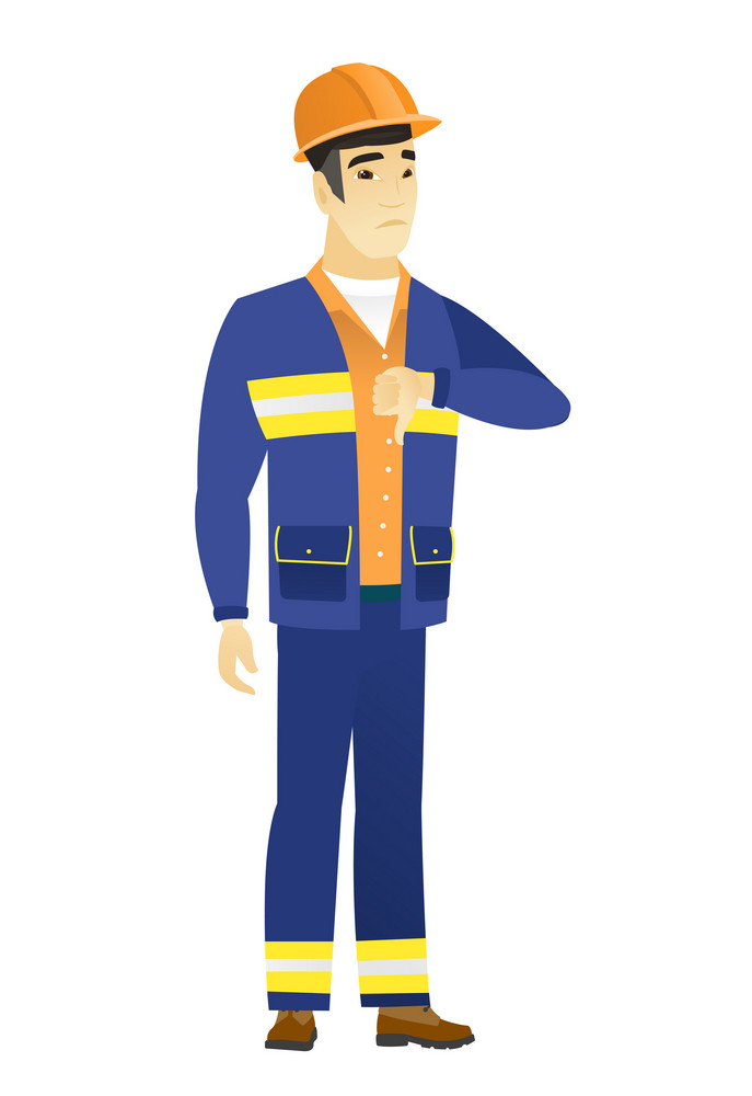 Disappointed asian builder with thumb down. Full length of young builder showing thumb down. Young builder with his thumb down. Vector flat design illustration isolated on white background