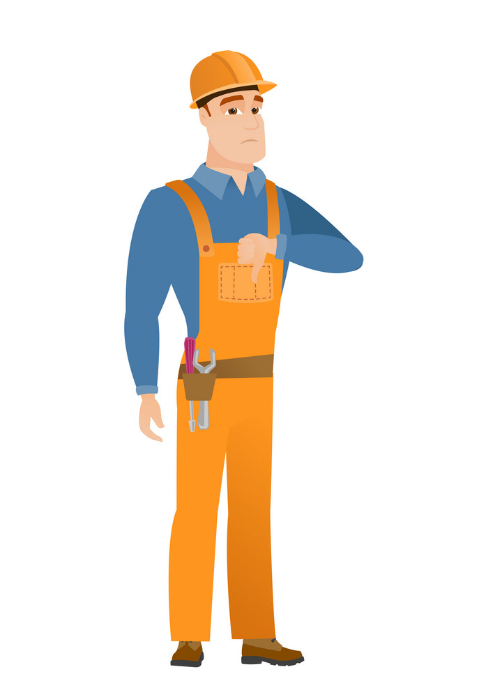 Disappointed caucasian builder with thumb down. Full length of young builder showing thumb down. Young builder with his thumb down. Vector flat design illustration isolated on white background