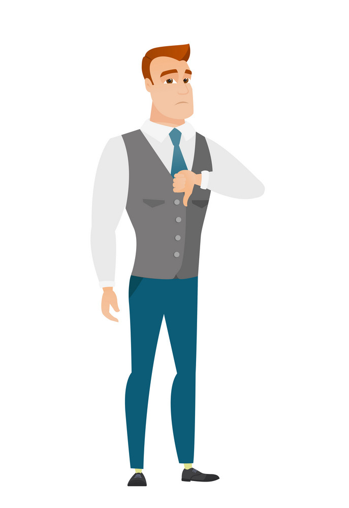 Disappointed caucasian business man with thumb down. Full length of businessman showing thumb down. Young business man with his thumb down. Vector flat design illustration isolated on white background