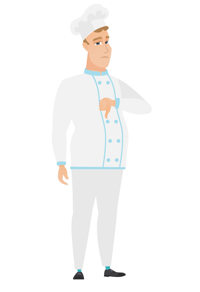 Disappointed caucasian chef cook with thumb down. Full length of sad chef cook showing thumb down. Young chef cook with his thumb down. Vector flat design illustration isolated on white background.