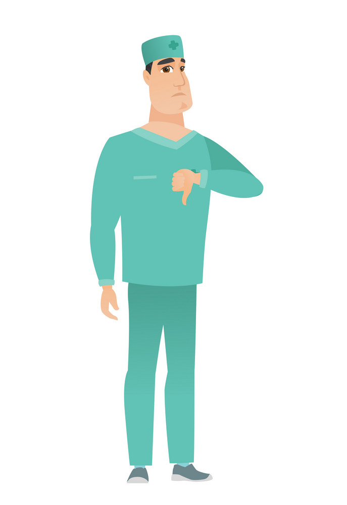 Disappointed caucasian doctor with thumb down. Full length of doctor in uniform showing thumb down. Young doctor with his thumb down. Vector flat design illustration isolated on white background.