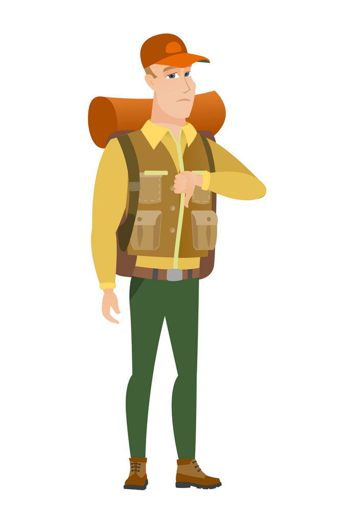 Disappointed caucasian traveler with thumb down. Full length of traveler showing thumb down. Young traveler with his thumb down. Vector flat design illustration isolated on white background.