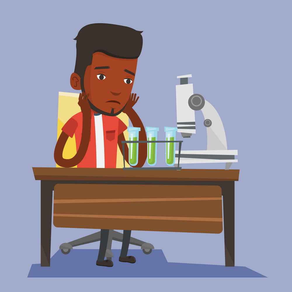 Disappointed student carrying out experiment in chemistry class. An african-american student clutching head after failed experiment in chemistry class. Vector flat design illustration. Square layout.