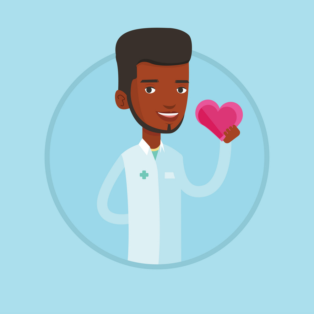 Doctor cardiologist with heart in hand. Doctor cardiologist holding heart. Concept of healthcare and prevention of heart problems. Vector flat design illustration in the circle isolated on background.