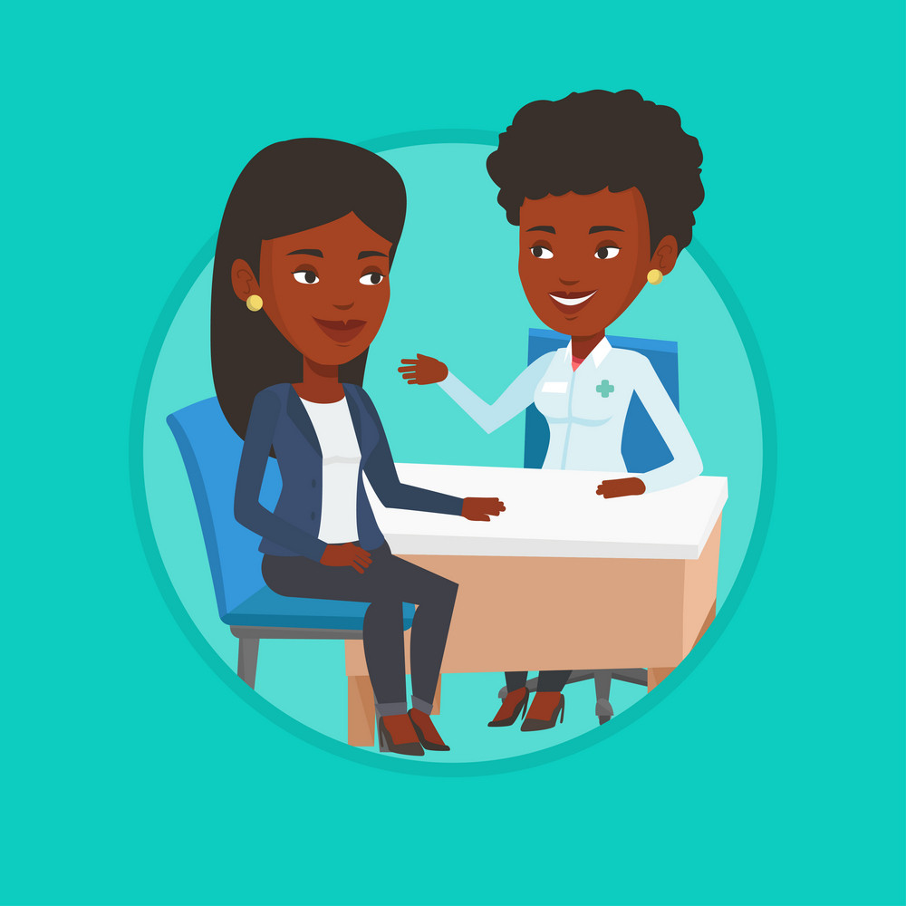 Doctor consulting patient in office. Doctor talking to patient. Doctor communicating with patient about her state of health. Vector flat design illustration in the circle isolated on background.