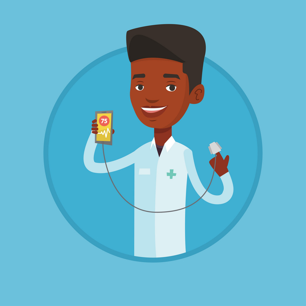 Doctor holding smartphone with application for measuring heart rate pulse. Doctor showing application for checking heart rate pulse Vector flat design illustration in the circle isolated on background