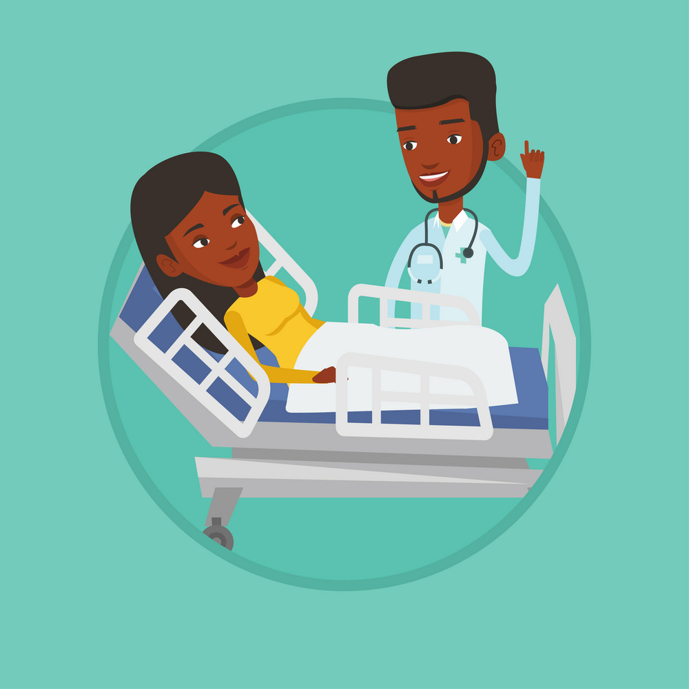 Doctor visiting patient. Doctor pointing finger up during visiting of patient. Woman lying in hospital bed while doctor visits her. Vector flat design illustration in the circle isolated on background
