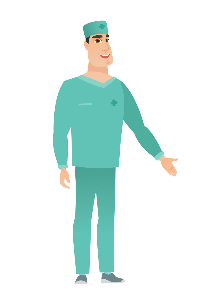 Doctor with arm out in a welcoming gesture. Full length of welcoming young caucasian doctor in uniform. Doctor doing a welcome gesture. Vector flat design illustration isolated on white background.
