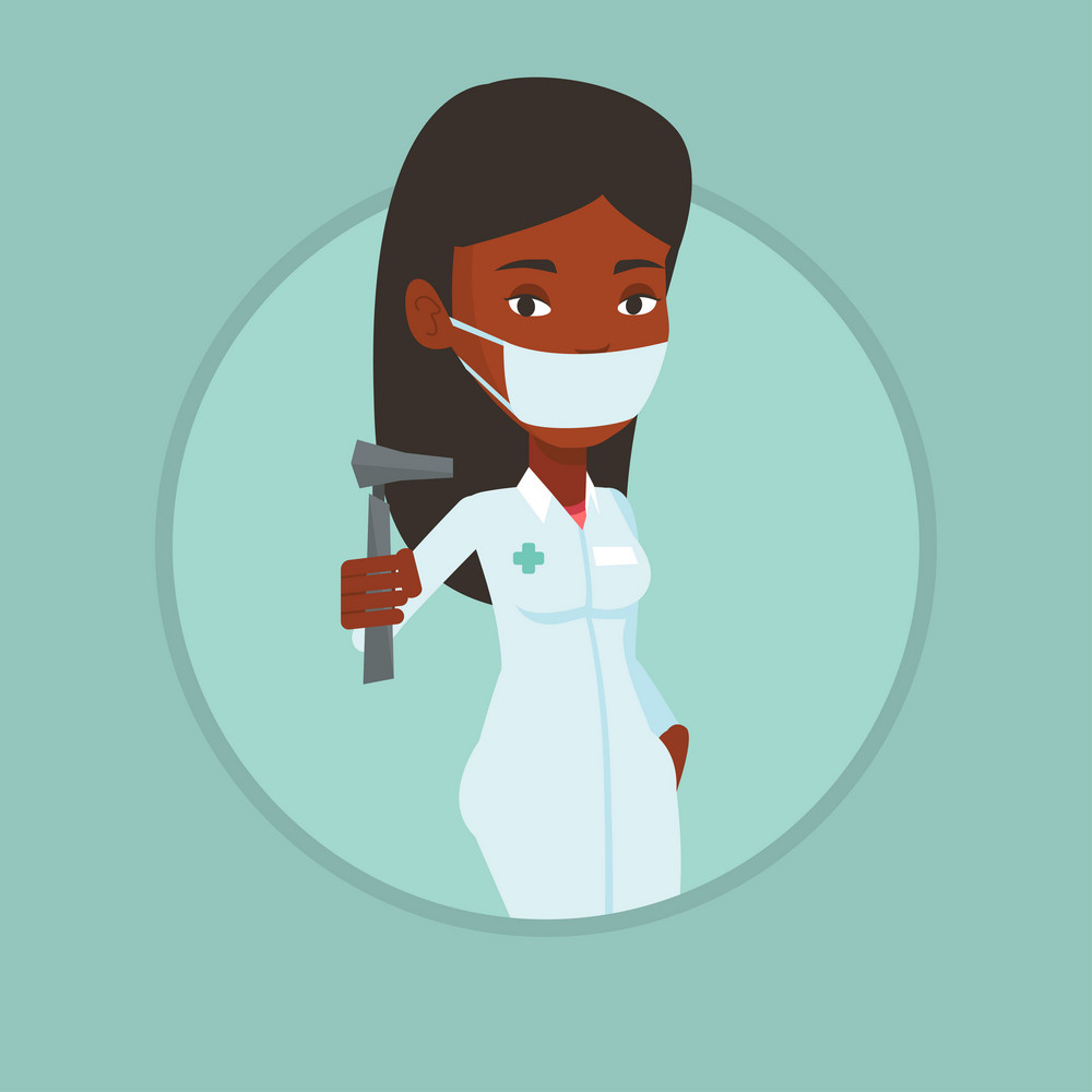 Ear nose throat doctor holding medical tool. Young doctor in medical gown showing tools used for examination of ear, nose, throat. Vector flat design illustration in the circle isolated on background.