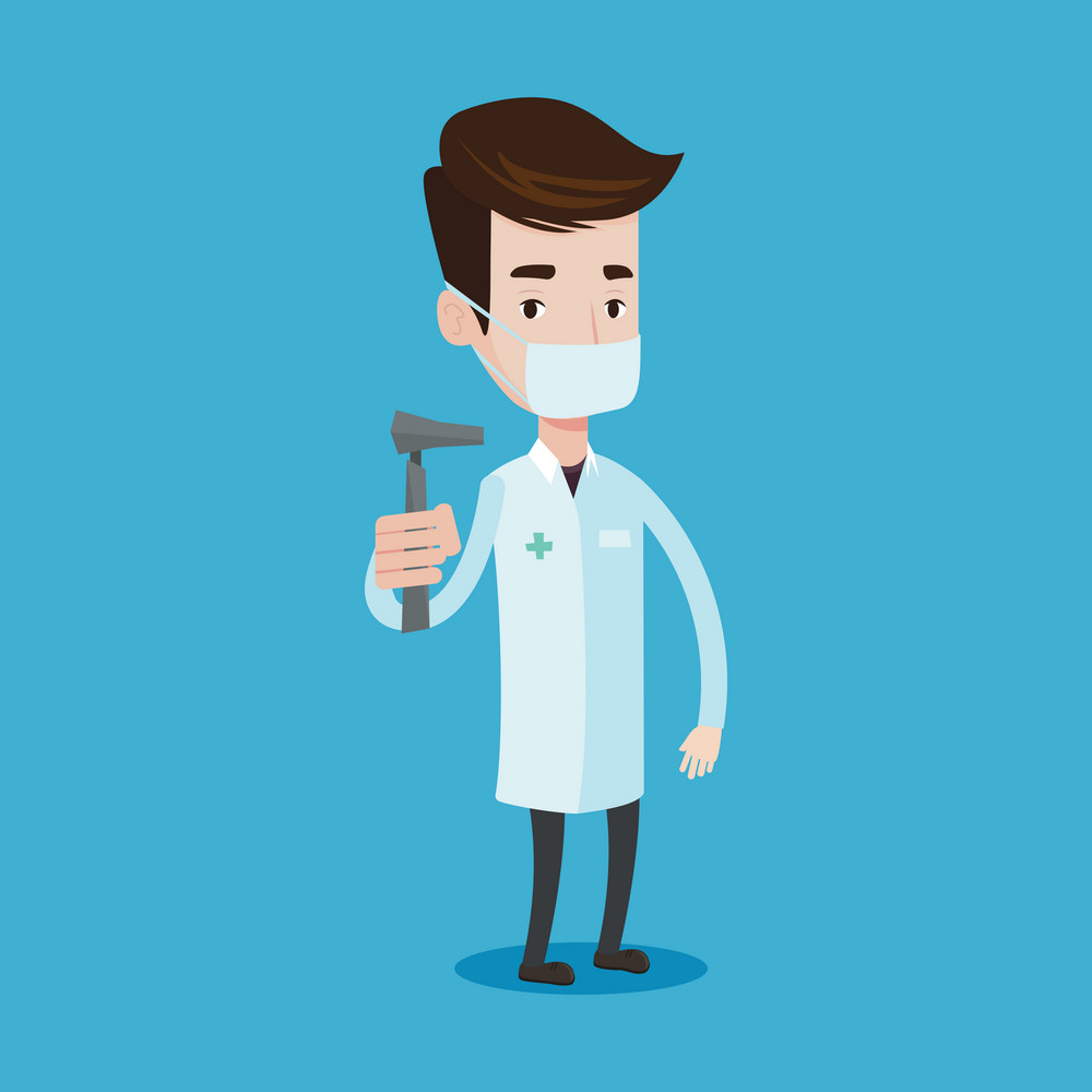 Ear nose throat doctor standing in the medical office. Young doctor in medical gown and mask with tools used for examination of ear, nose, throat. Vector flat design illustration. Square layout.