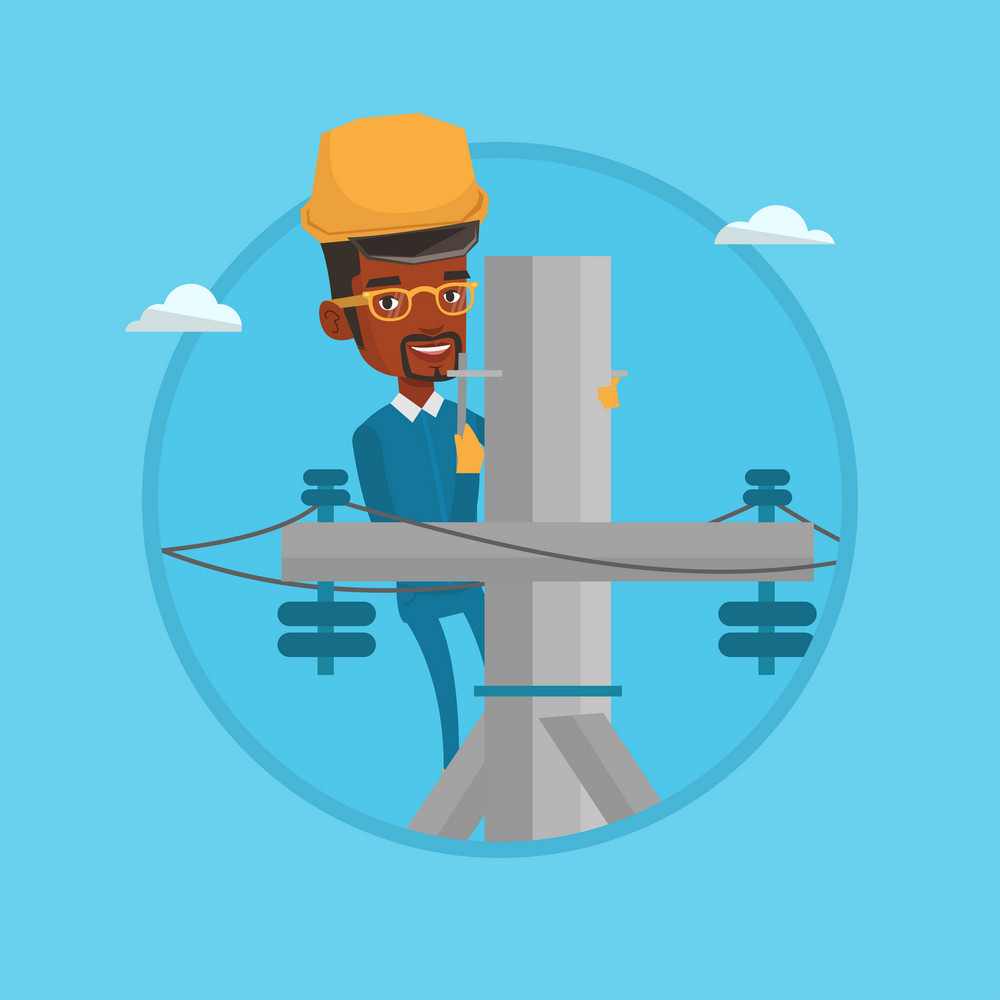 Electrician working on electric power pole. Electrician at work on electric power pole. Electrician repairing electric power pole. Vector flat design illustration in the circle isolated on background.