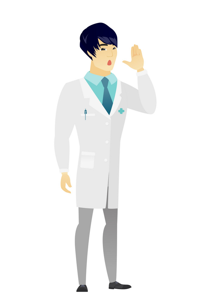 Embarrassed asian doctor calling for help. Full length of doctor in medical gown calling for help. Doctor in trouble calling for help. Vector flat design illustration isolated on white background.