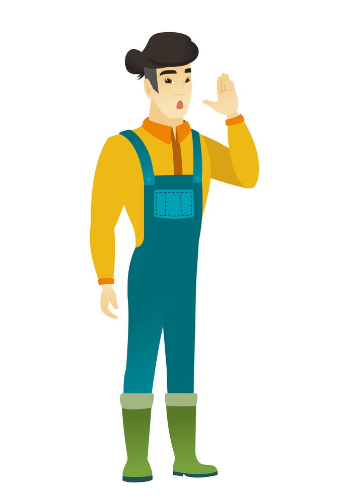 Embarrassed asian farmer calling for help. Full length of farmer in coveralls calling for help. Farmer in trouble calling for help. Vector flat design illustration isolated on white background.