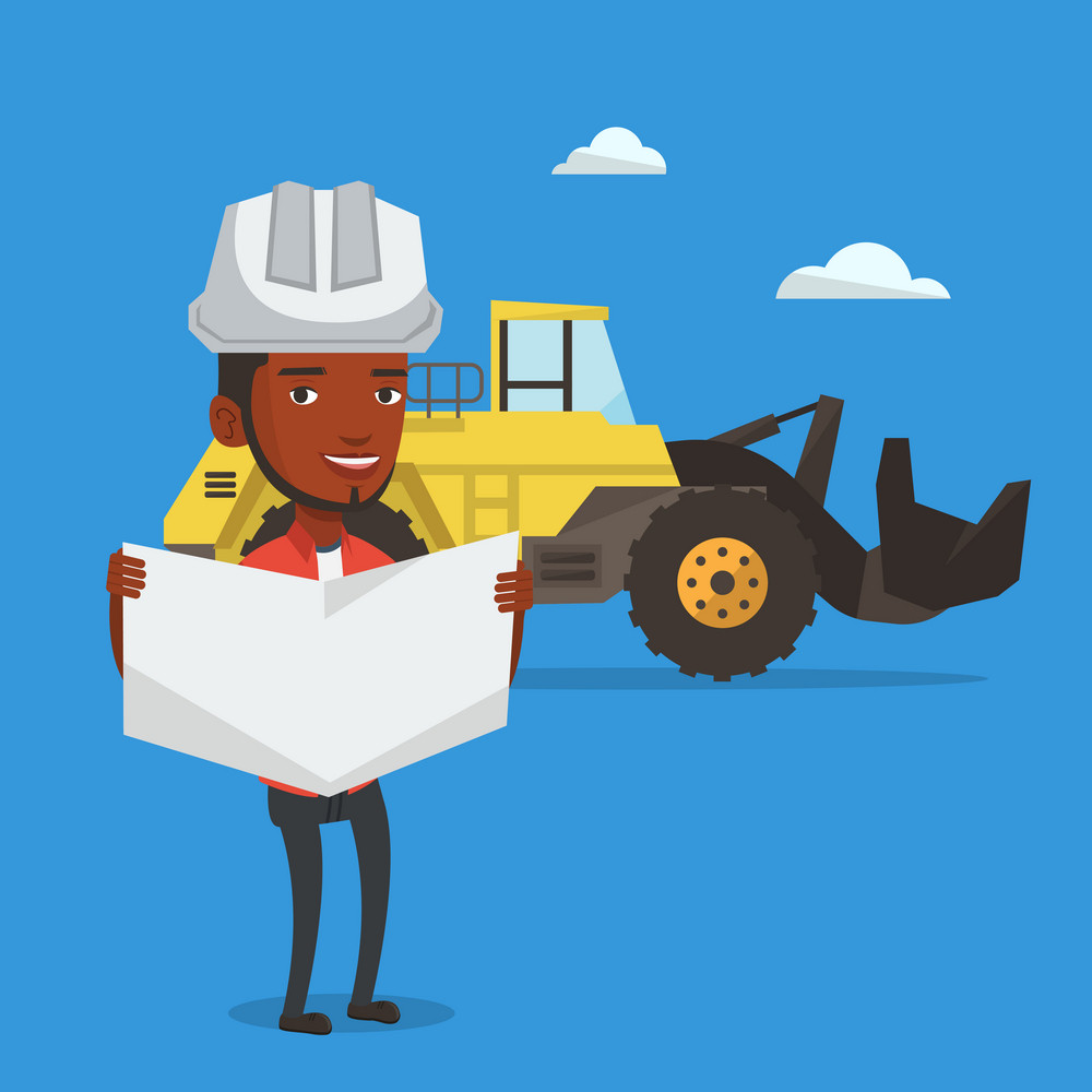 Engineer watching a blueprint at construction site. Engineer with engineer blueprint standing on the background of excavator. Vector flat design illustration. Square layout