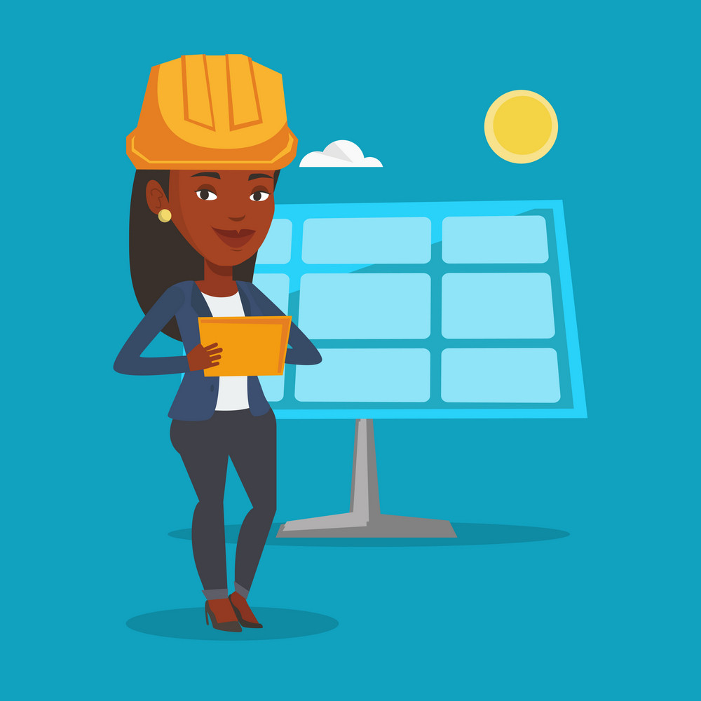 Engineer working on digital tablet at solar power plant. African-american worker of solar power plant. Engineer in hard hat checking solar panel setup. Vector flat design illustration. Square layout.