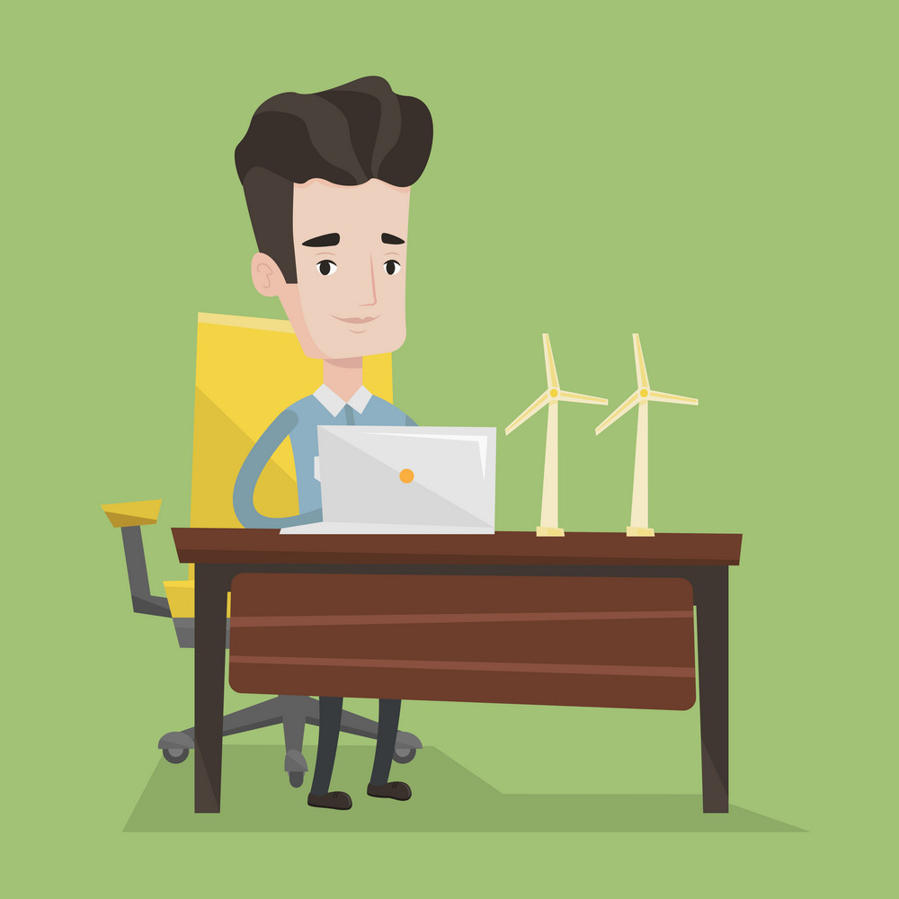 Engineer working on laptop. Engineer projecting wind turbines in his office. Man working with model wind turbines. Green renewable energy concept. Vector flat design illustration. Square layout.