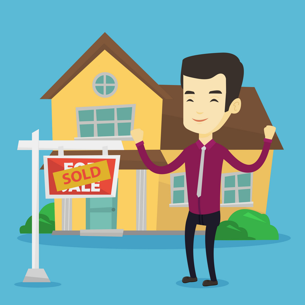 Excited asian real estate agent standing in front of sold real estate placard and house. Full length of successful real estate agent who sold a house. Vector flat design illustration. Square layout.