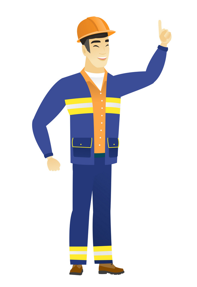 Excited builder pointing with his finger. Full length of asian builder pointing his finger up. Young builder with finger pointing up. Vector flat design illustration isolated on white background.