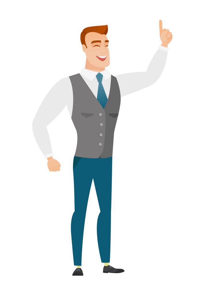 Excited business man pointing with his finger. Full length of business man pointing his finger up. Business man with finger pointing up. Vector flat design illustration isolated on white background.