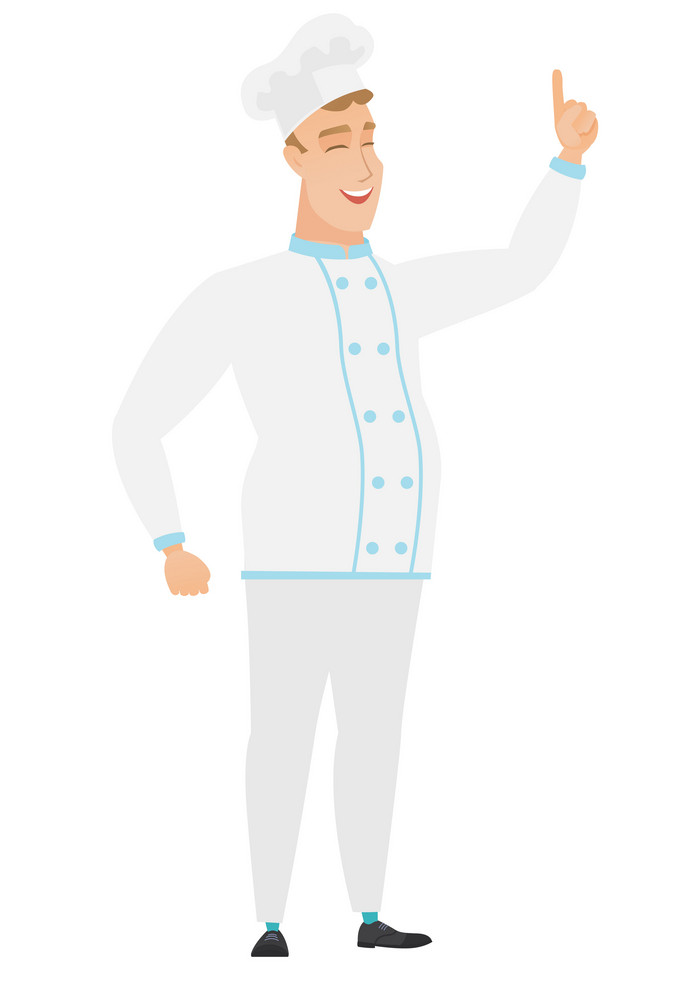 Excited chef cook in uniform pointing with his finger. Full length of chef cook pointing his finger up. Chef cook with finger pointing up. Vector flat design illustration isolated on white background.