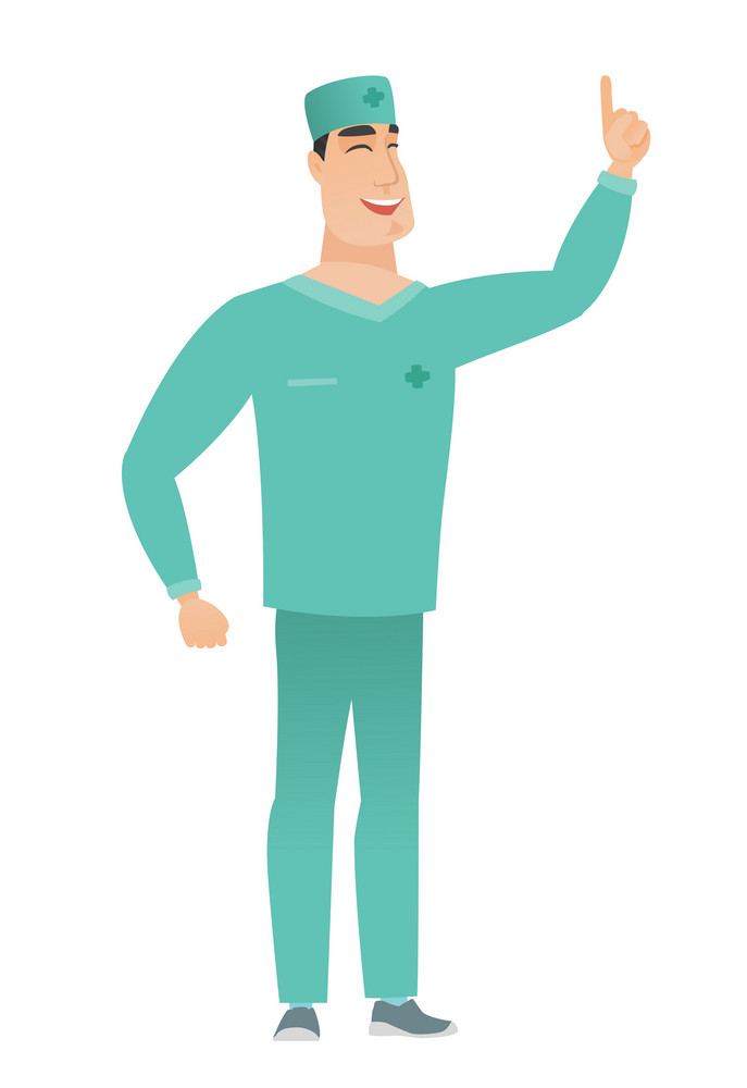 Excited doctor in uniform pointing with his finger. Full length of happy doctor pointing his finger up. Doctor with finger pointing up. Vector flat design illustration isolated on white background.