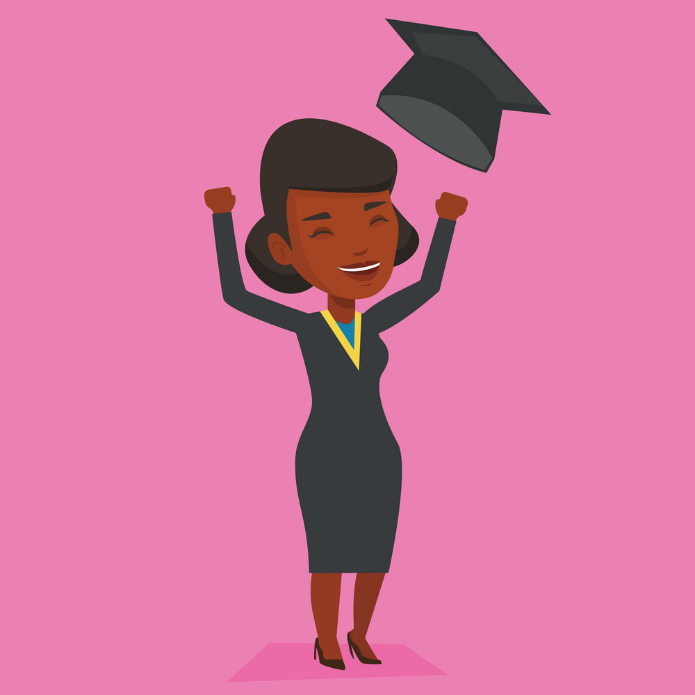 Excited graduate in cloak and graduation hat. An african-american graduate throwing up her hat. Cheerful female graduate with hands raised celebrating. Vector flat design illustration. Square layout.