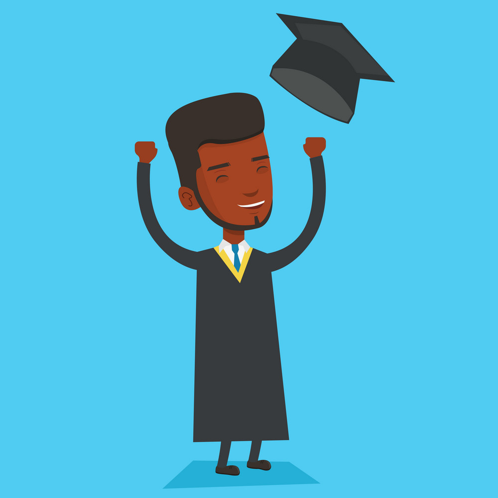 Excited graduate in cloak and graduation hat. An african-american graduate throwing up his hat. Cheerful graduate with hands raised celebrating. Vector flat design illustration. Square layout.