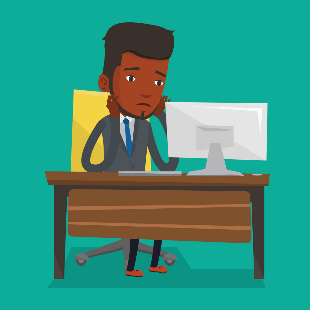 Exhausted african-american employee sitting at workplace in front of computer in office. Overworked tired employee working with his head propped on hand. Vector flat design illustration. Square layout