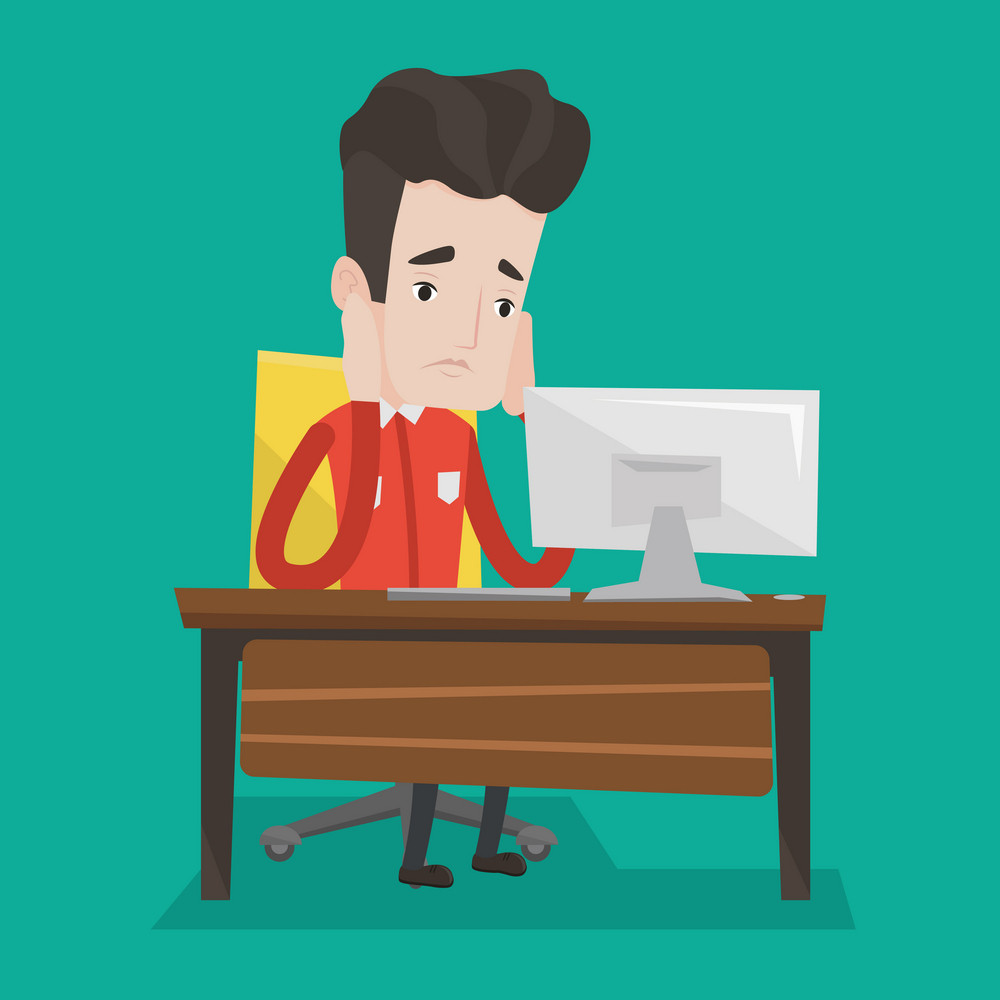 Exhausted caucasian businessman sitting at workplace in front of computer in office. Overworked tired employee working with his head propped on hand. Vector flat design illustration. Square layout.