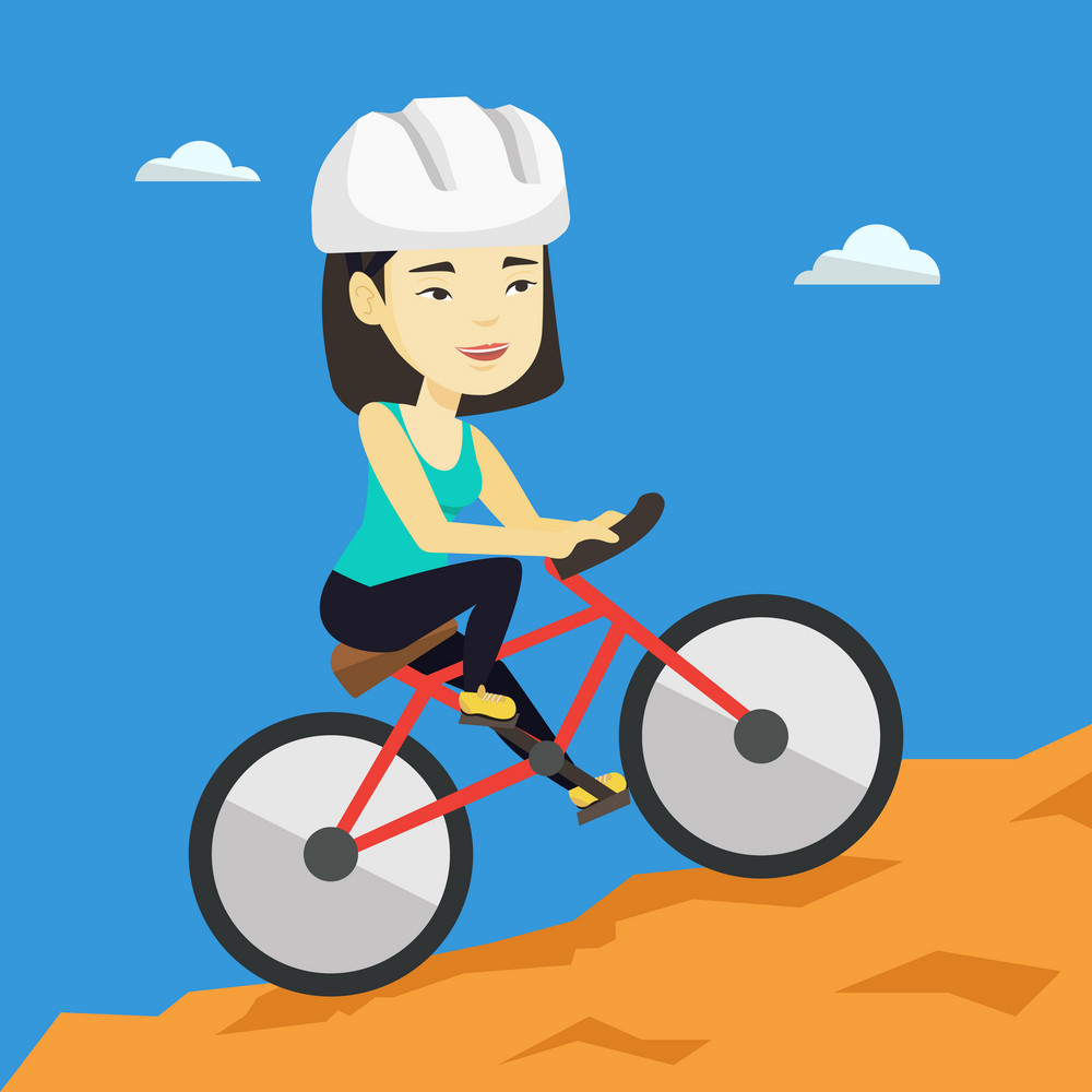 Extreme asian female tourist riding on mountain bicycle. Young confident female tourist in helmet traveling in the mountains on a mountain bicycle. Vector flat design illustration. Square layout.