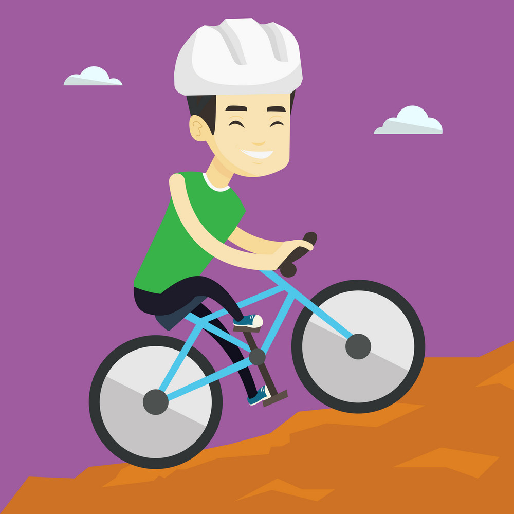 Extreme asian male tourist riding on mountain bicycle. Young confident male tourist in helmet traveling in the mountains on a mountain bicycle. Vector flat design illustration. Square layout.