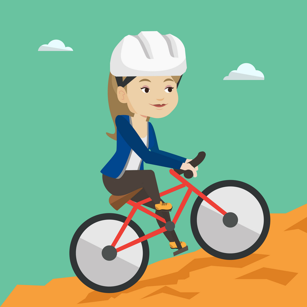 Extreme caucasian woman riding on mountain bike. Young confident female tourist in helmet traveling in the mountains on a mountain bicycle. Vector flat design illustration. Square layout.