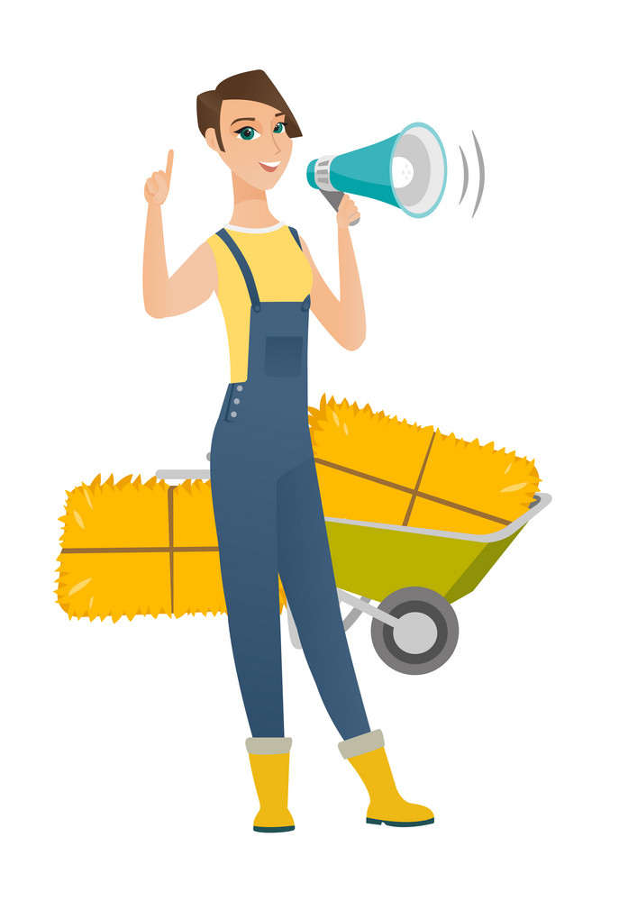 Farmer making announcement through loudspeaker on the background of hay bale and wheelbarrow. Farmer with loudspeaker making announcement. Vector flat design illustration isolated on white background.