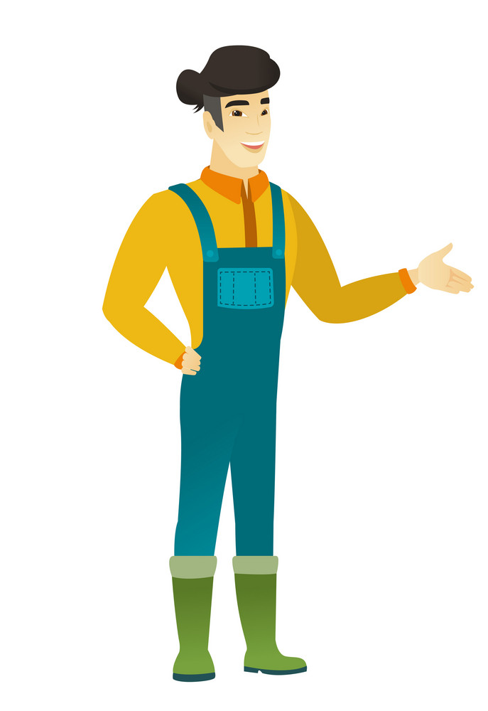 Farmer with arm out in a welcoming gesture. Full length of welcoming young asian farmer in coveralls. Farmer doing a welcome gesture. Vector flat design illustration isolated on white background.