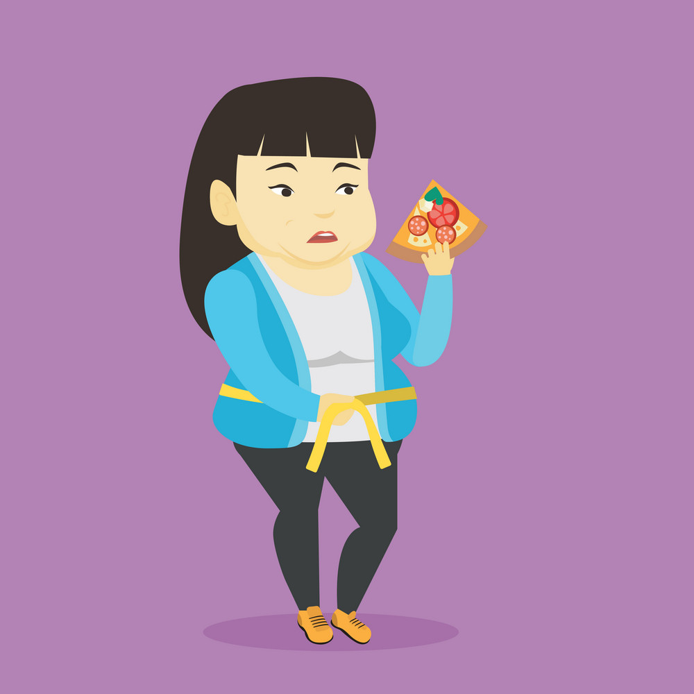 Fat asian woman with slice of pizza in hand measuring a waistline. Sad fat woman measuring a waistline with tape. Fat woman with centimeter on waistline. Vector flat design illustration. Square layout