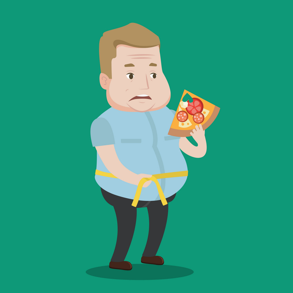 Fat man with slice of pizza measuring waistline with tape. Man measuring with tape the abdomen and eating pizza. Overweight man with centimeter on waist. Vector flat design illustration. Square layout