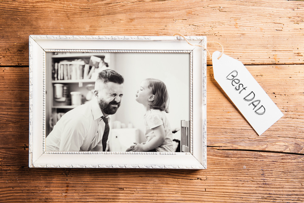 Fathers day composition. Photo of father and daughter in white ...