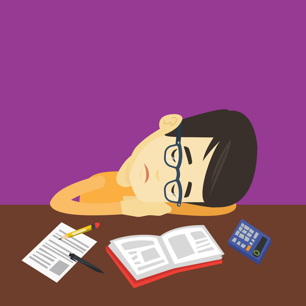 Fatigued asian student sleeping at the desk with books. Tired student sleeping after learning. Young man sleeping among books at the table. Vector flat design illustration. Square layout.